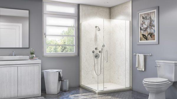 Corner Shower in Botticino Cream