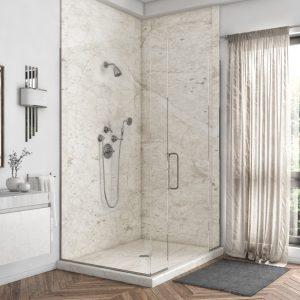 2 Panel Shower in Botticino Cream