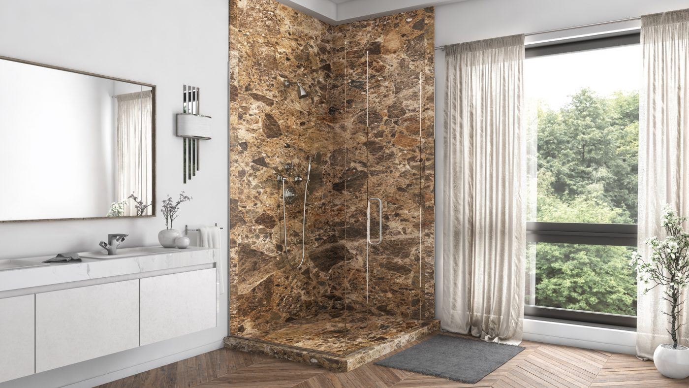 2 Panel Shower in Breccia Paradiso