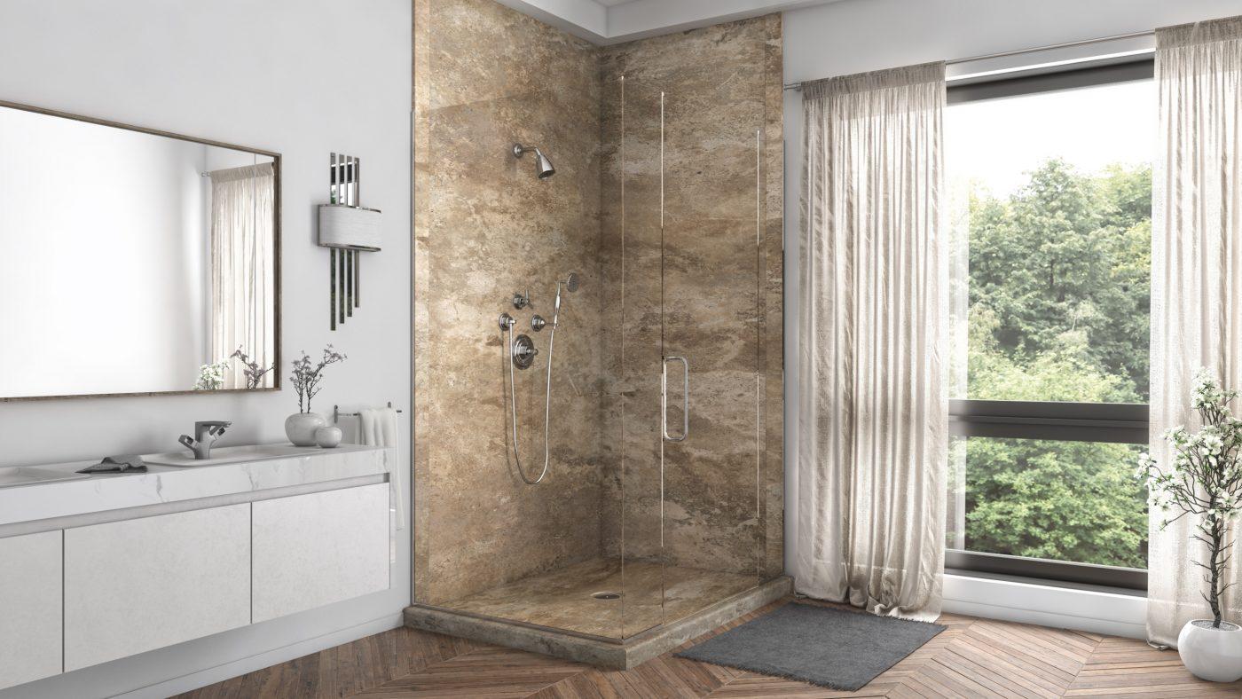 2 Panel Shower in Mocha Travertine