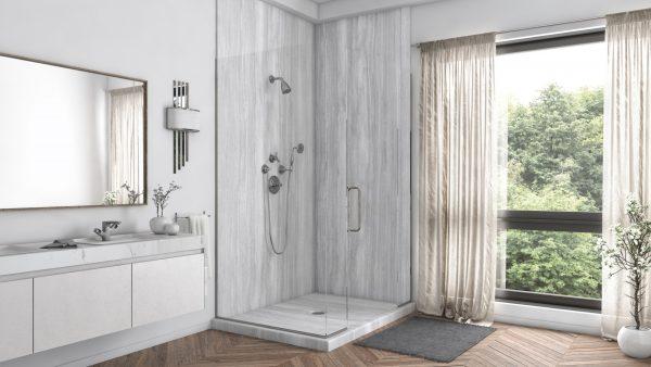 2 Panel Shower in Veincut Gray