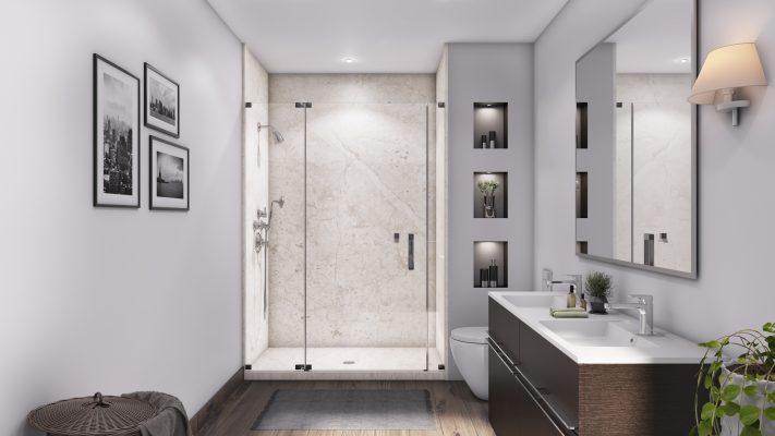 3 Panel 48 Shower in Botticino Cream