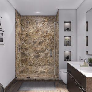 3 Panel 48 Shower in Breccia Paradiso