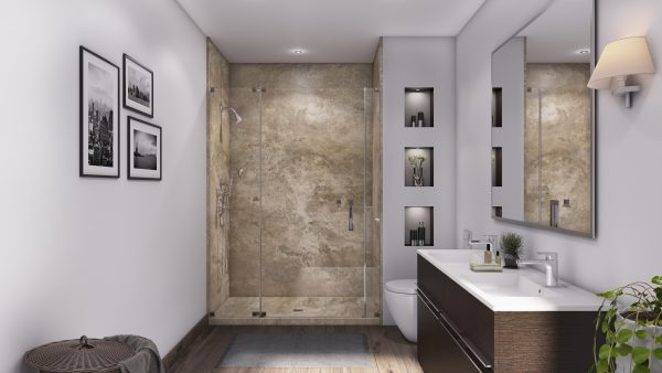 3 Panel 48 Shower in Mocha Travertine