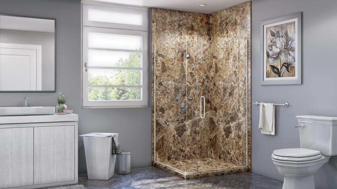 Corner Shower in Breccia Paradiso
