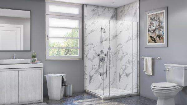 Corner Shower in Calacatta White