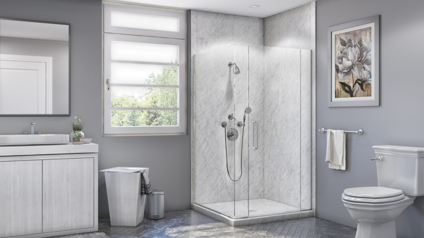 Corner Shower in Frost