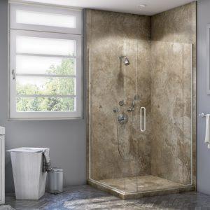 Corner Shower in Mocha Travertine