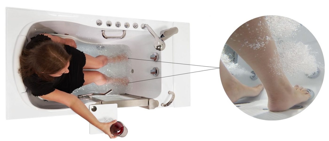walk-in tub foot massage
